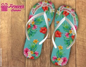 Chinelo Personalizado Festa Luau Flores