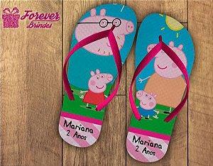 Chinelo Personalizado De Aniversário Da Peppa Pig
