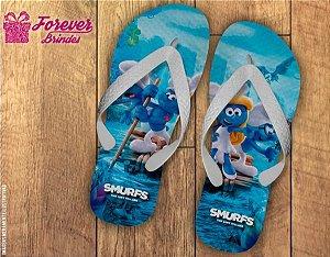 Chinelo Personalizados De Aniversário Smurfs