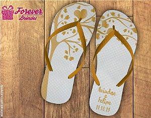 Chinelo Personalizado De Casamento Dourado