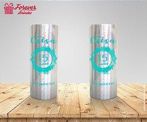 Copo Long Drink Holográfico De 15 Anos Azul