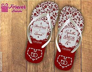 Chinelo Personalizado De Casamento Vermelho