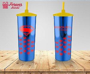 Copo Long Drink Tampa e Canudo Metalizado Super Homem
