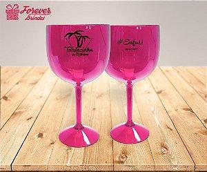 Taça De Gin Rosa De Aniversário