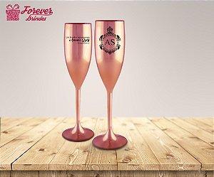 Taça De Champanhe Metalizada Rose De Odontologia