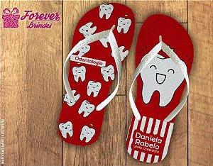 Chinelo Personalizado Vermelho De Odontologia