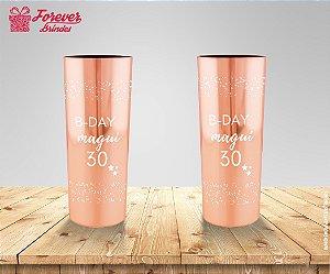 Copo Long Drink Metalizado Rose De 30 Anos