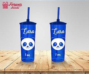 Copo Long Drink Com Tampa E Canudo De Panda