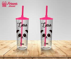 Copo Long Drink Com Tampa E Canudo Personalizado De Panda