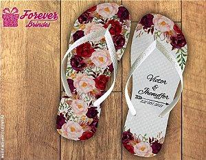 Chinelo Com Flores Personalizado De Casamento