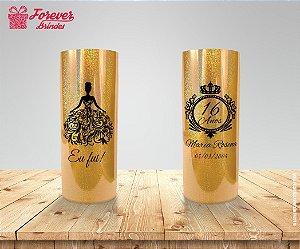 Copo Long Drink Holográfico Dourado De 15 Anos
