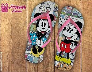 Chinelo de Aniversário Mickey E Minnie Retrô