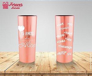 Copo Long Drink Metalizado Rose De 15 Anos