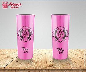 Copo Long Drink Metalizado Rosa De Fonoaudiologia