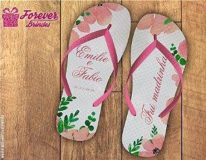 Chinelo Personalizado Floral De Casamento