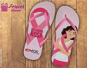 Chinelo Personalizado Outubro Rosa