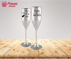 Taça De Champanhe Metalizada Feliz Ano Novo