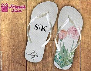 Chinelo Personalizado De Casamento Com folhas E Flores