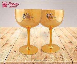 Taça De Gin Metalizada Dourada De direito