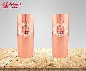 Copo Long Drink Metalizado Rose De Carnaval