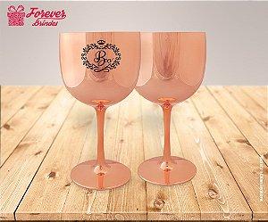 Taça De Gin Metalizada Rose De Aniversário 15 Anos