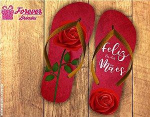 Chinelo Personalizado Feliz Dia Das Mães Rosa Vermelha