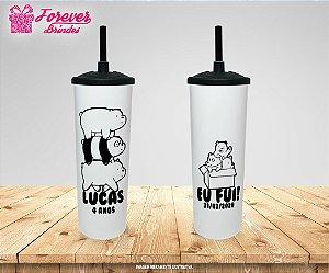 Copo Long Drink  Tampa E Canudo  Personalizado Nós Ursos