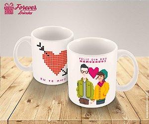 Caneca De Porcelana Feliz Dia dos Namorados