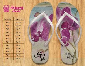 Chinelo Personalizado Casamento Orquídea