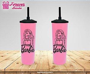Copo Long Drink Tampa e Canudo Desenho Barbie
