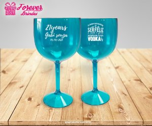 Taça De Gin Azul Tiffany Translúcido Aniversário