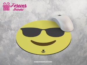 Mouse Pad Redondo Emoji Com Óculos de Sol