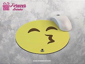 Mouse Pad Redondo Emoji Beijo
