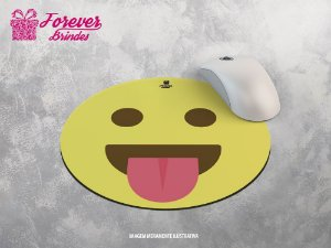Mouse Pad Redondo Emoji Mostrando a língua