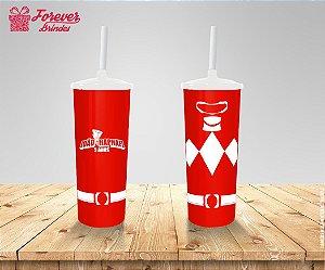 Copo Long Drink Com Tampa e Canudo Power Rangers