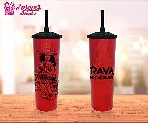 Copo Long Drink Tampa e Canudo Princesa Raya