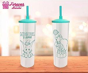 Copo Long Drink Tampa e Canudo Dumbo Pérola