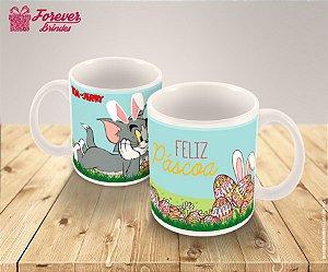 Caneca De Porcelana Páscoa Tom e Jerry