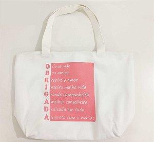 Bolsa em Silk Obrigada Mãe Rosa Claro