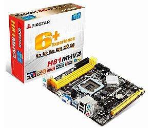 Placa Mãe Biostar H81MHV3 LGA1150 / 2XDDR3/ VGA/ HDMI/ USB/ SATA