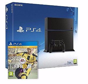 Console Vídeo Game Console PS4 Slim HD 500GB + 2 Controles + Fifa 17 ( Usado )