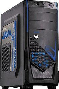 Gabinete Pcyes Java Mid Tower Led Azul USB3.0 Leitor de Cartão