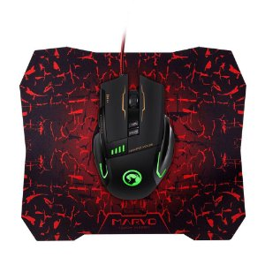 Kit Mouse Gamer Marvo Scorpion G909 800/3200 DPI + Mouse Pad G1