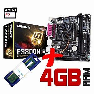 Kit Placa Mãe Gigabyte + Processador Quad Core AMD E3800N + Memória 4GB DDR3