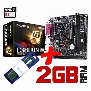 Kit Placa Mãe Gigabyte + Processador Quad Core AMD E3800N + Memória 2GB DDR3
