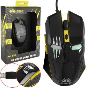 Mouse Gamer Iron Man 6D Knup KP-V22 Yellow
