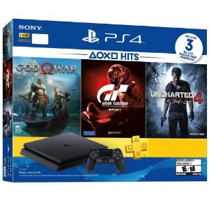 CONSOLE SONY PLAYSTATION 4 SLIM 500GB BUNDLE GOD OF WAR, GRAN TURISMO SPORT E UNCHARTED 4