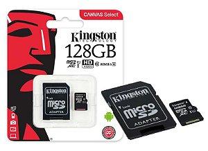 Cartão de Memória Kingston 128GB Classe 10 + 1 Adaptador SD