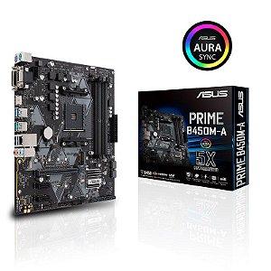 Placa Mãe Asus AM4 Prime B450M-A CSM HDMI VGA USB 3.1