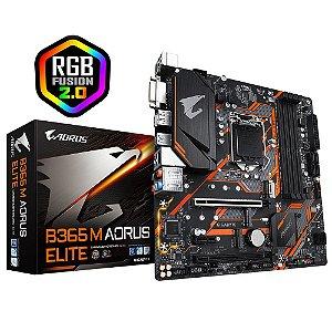 Placa Mãe Gigabyte B365M AORUS Elite LGA 1151 RGB